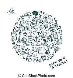 esboço, escola, quadro, costas, desenho, seu