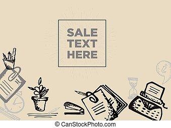 esboço, escritório, vindima, venda, bandeira, hand-drawn, grande, ferramentas