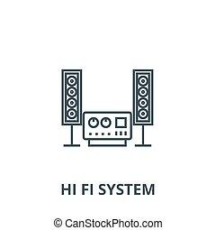 esboço, estéreo, conceito, símbolo, sistema, sinal, linear, vetorial, ícone, fi, olá, linha, som