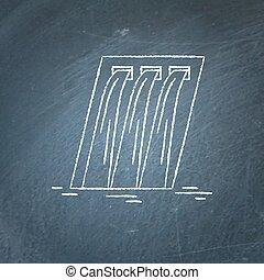 esboço, estação, chalkboard, hidroelétrico