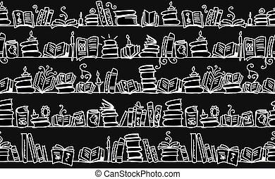 esboço, estantes, padrão, seamless, livros, desenho