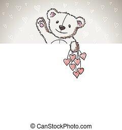esboço, estilo, urso, mão, desenhado, bandeira