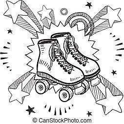 esboço, estouro, patins rolo