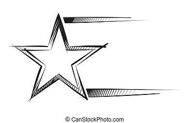 esboço, estrela