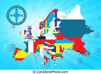 esboço, europeu, mapa, com, nacional