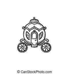esboço, fairytale, mão, carruagem, desenhado, icon.