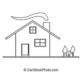 esboço, família, casa, vetorial, fumaça, chaminé
