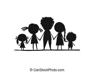 esboço, família, desenho, junto, seu, feliz