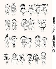 esboço, família, grande, junto, sorrindo, desenho, feliz