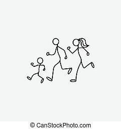 esboço, família, pequeno, desporto, caricatura, ícone