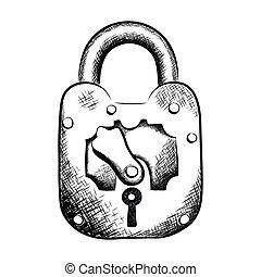 esboço, fechadura, técnica, ilustração, vetorial, desenhado