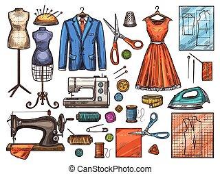 esboço, ferramenta, cosendo, equipamento, alfaiate, desenho