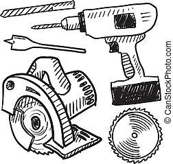 esboço, ferramentas, poder