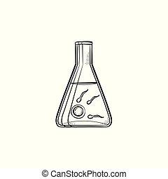 esboço, fertilização, doodle, vitro, mão, desenhado, icon.