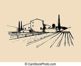 esboço, fields., illustration., homestead., camponeses, casa, vila, mediterrâneo, mão, vetorial, desenhado, paisagem rural