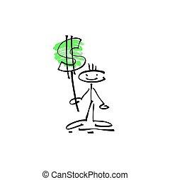 esboço, figura, dólar, mão, vara, human, sorrizo, sinal, desenho
