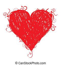 esboço, forma coração, vermelho, para, seu, desenho