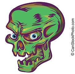 esboço, fundo, branca, verde, desenho, cranio