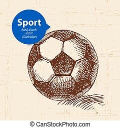 esboço, futebol, ilustração, mão, vetorial, object., desenhado, desporto