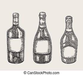 esboço, garrafas, vintage., ilustração, mão, vetorial, desenhado, style., vinho