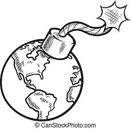 esboço, global, crise