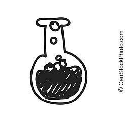 esboço, gráfico, frasco, ciência, vetorial, icon., design.