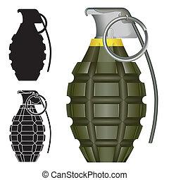 esboço, granada, mão