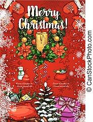 esboço, grinalda, saudação, vetorial, holly, cartão natal