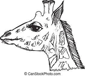 esboço, grunge, ilustração, mão, girafa, desenhado