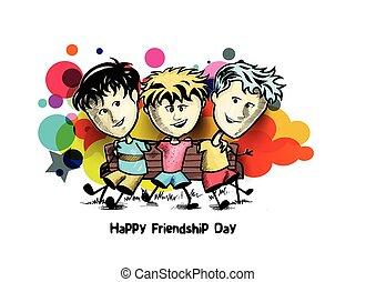 esboço, grupo, amigos, mão, day., experiência., vetorial, desenhado, desfrutando, amizade, caricatura, feliz