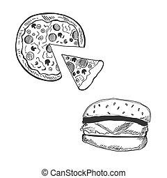 esboço, hamburger, ilustração, vetorial, pizza, estilo