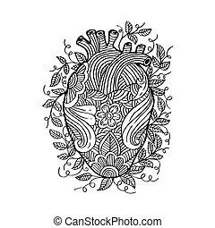 esboço, heart., desenho, mão humana