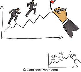 esboço, homem negócios, meta, linhas, doodle, linha, isolado, ilustração, mão, vetorial, experiência preta, guiando, desenhado, branca, desenho, líder