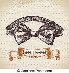 esboço, homens, ilustração, mão, cavalheiros, accessory., desenhado
