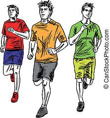 esboço, homens, runners., ilustração, vetorial, maratona