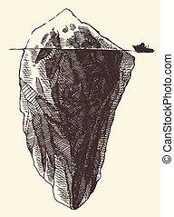 esboço, iceberg, vindima, ilustração, navio, gravado