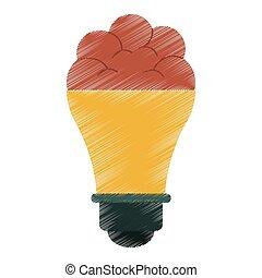 esboço, idéia, criativo, cérebro, inovação, bulbo, desenho