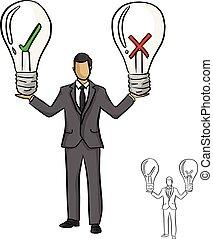 esboço, idéia, crucifixos, cheque, doodle, concept., isolado, experiência., pretas, segurando, desenhado, branco vermelho, negócio, grande, ilustração, mão, bulbo, linhas, vetorial, verde, homem negócios
