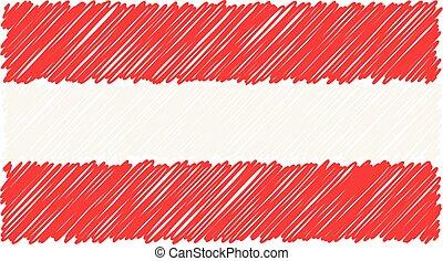 esboço, illustration., bandeira nacional, isolado, mão, experiência., áustria, vetorial, desenhado, branca, estilo