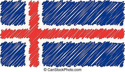 esboço, illustration., islândia, nacional, isolado, mão, experiência., bandeira, vetorial, desenhado, branca, estilo