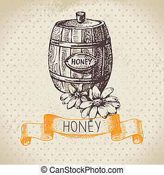 esboço, ilustração, mão, mel, fundo, desenhado