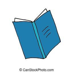 esboço, ilustração, mão, vetorial, desenho, livro aberto