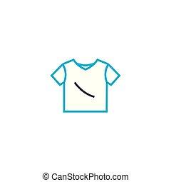 esboço, ilustração, sinal, símbolo, linear, t, apoplexia, vetorial, magra, icon., linha, concept., camisa