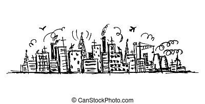 esboço, industrial, desenho, desenho, cityscape, seu
