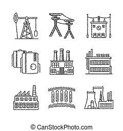 esboço, industrial, jogo, ícones, estilo, vetorial