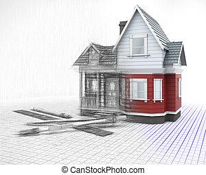 esboço, instrumentos, metade, grade, casa, fase, madeira, desenho, 3d