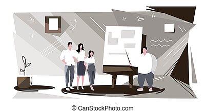 esboço, inverter, horizontais, businesspeople, cheio, apresentação, apontar, treinamento, homem negócios, interior, mapa, apresentando, explicando, estratégia, dados, grupo, reunião escritório, comprimento, conferência, conceito