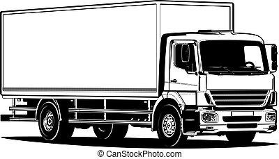 esboço, isolado, vetorial, caminhão, modelo, branca