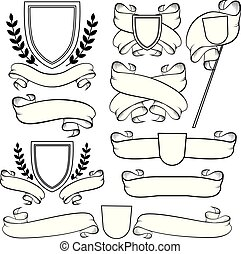 esboço, isolated., agasalho, heraldic, braços, crista, monocromático, fitas