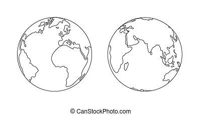 esboço, isolated., globo, ilustração, planeta, mundo, terra, ícone